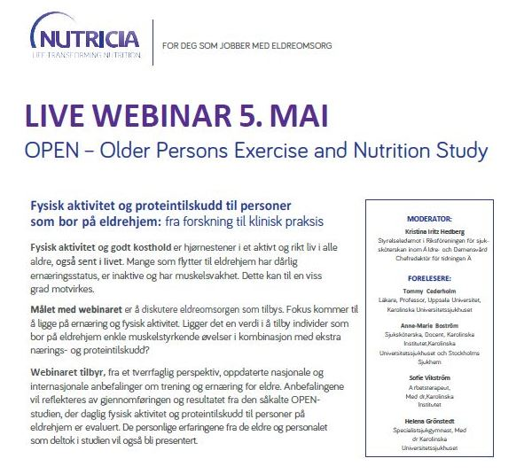 Webinar om fysisk aktivitet og proteintilskudd til personer på eldrehjem