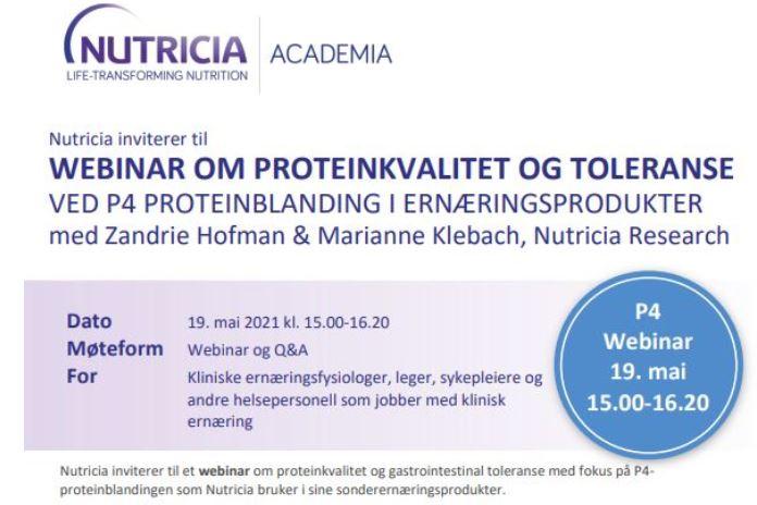 Webinar om proteinkvalitet og toleranse ved P4 proteinblanding 19. mai