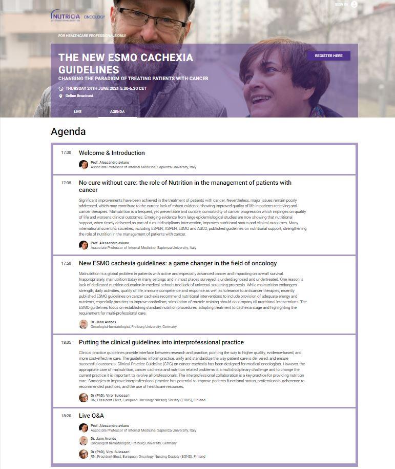 Live webinar – The new ESMO cachexia guidelines