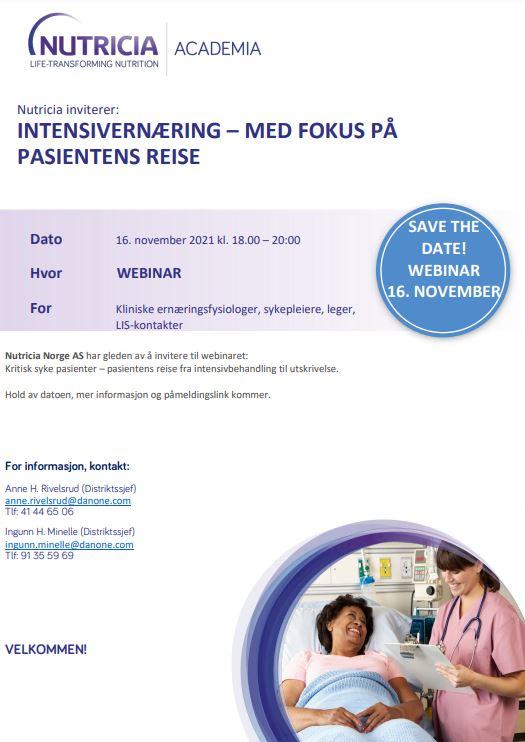 Live webinar – Intensivernæring – med fokus på pasientens reise